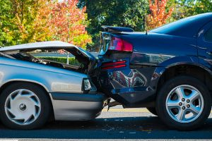 motor vehicle accident involving two cars on a city street